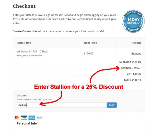 WP Robot 5 25% Discount Code: STALLION
