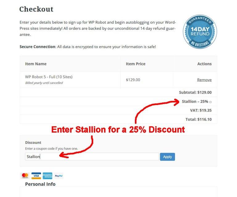 WP Robot 5 25% Discount Code: STALLION