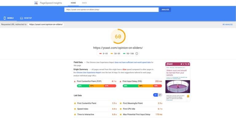Yoast SEO Terrible Mobile Google PageSpeed Insights Results