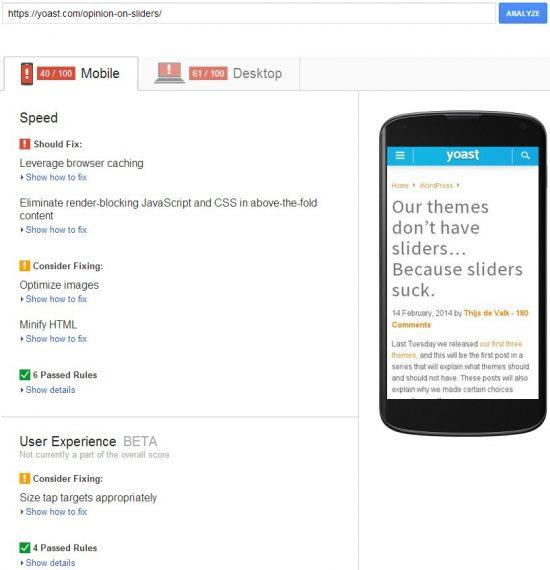 Yoast WordPress SEO Google Page Speed Insights