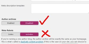 Yoast WordPress SEO Noindex Author Archives