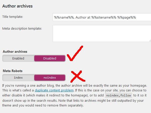Yoast WordPress SEO Noindex Author Archives