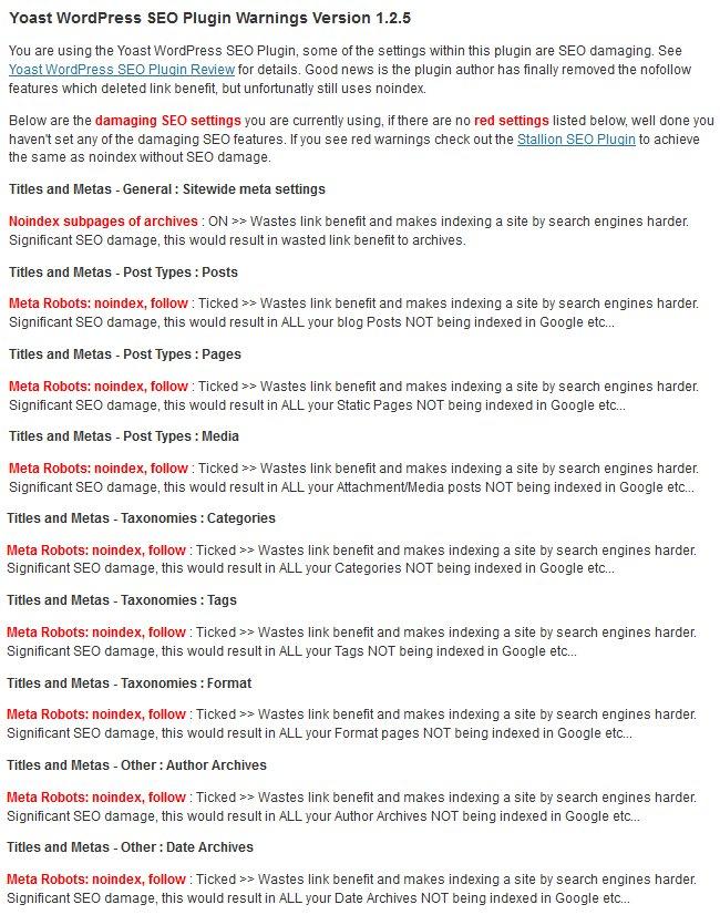 Yoast WordPress SEO Plugin SEO Damage